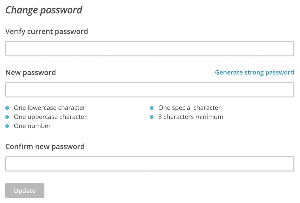 Изменение пароля профиля в MailChimp