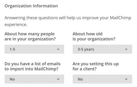 Заполнение профиля компании MailChimp