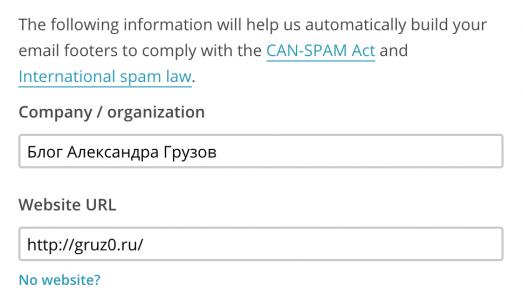 Вводим название компании и адрес сайта в MailChimp