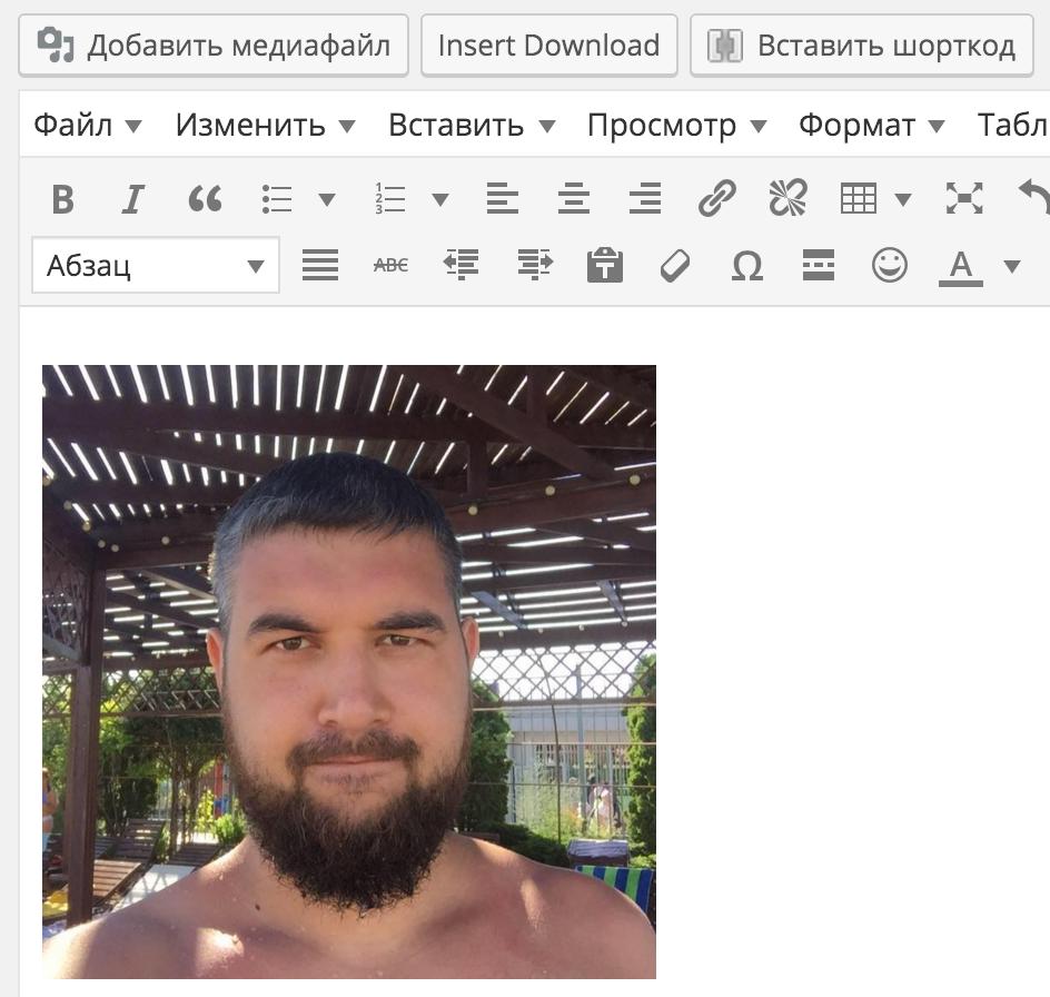 Добавленное изображение в редактор WordPress